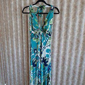 Hale Bob halter maxi dress in blues, green tones L